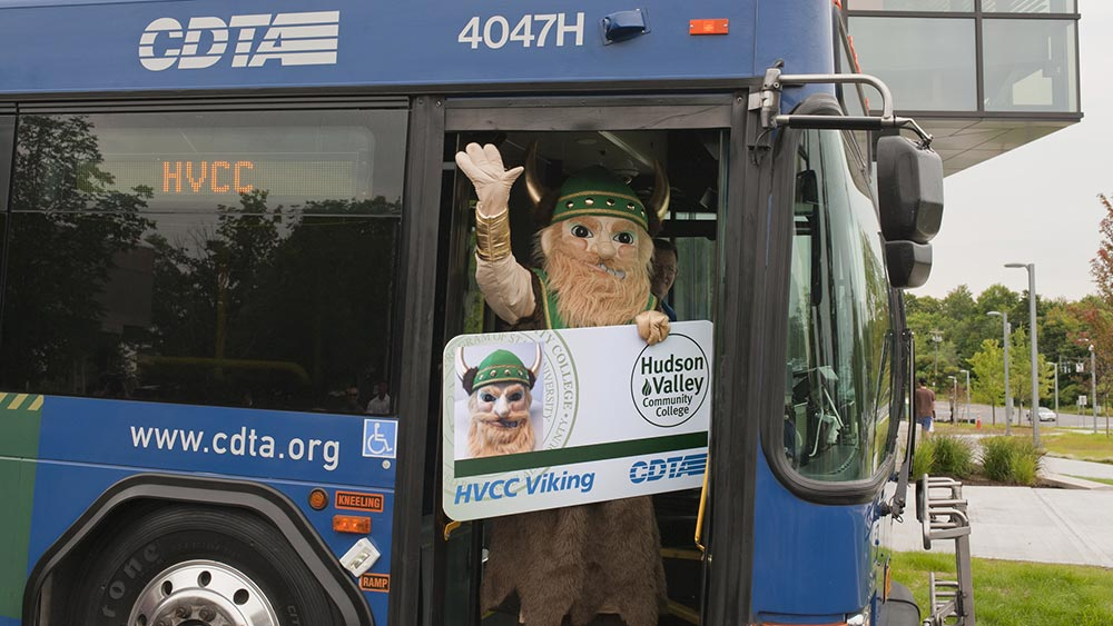 Viking mascot on CDTA bus
