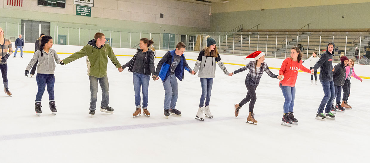 Group of people holding hands and ice skating