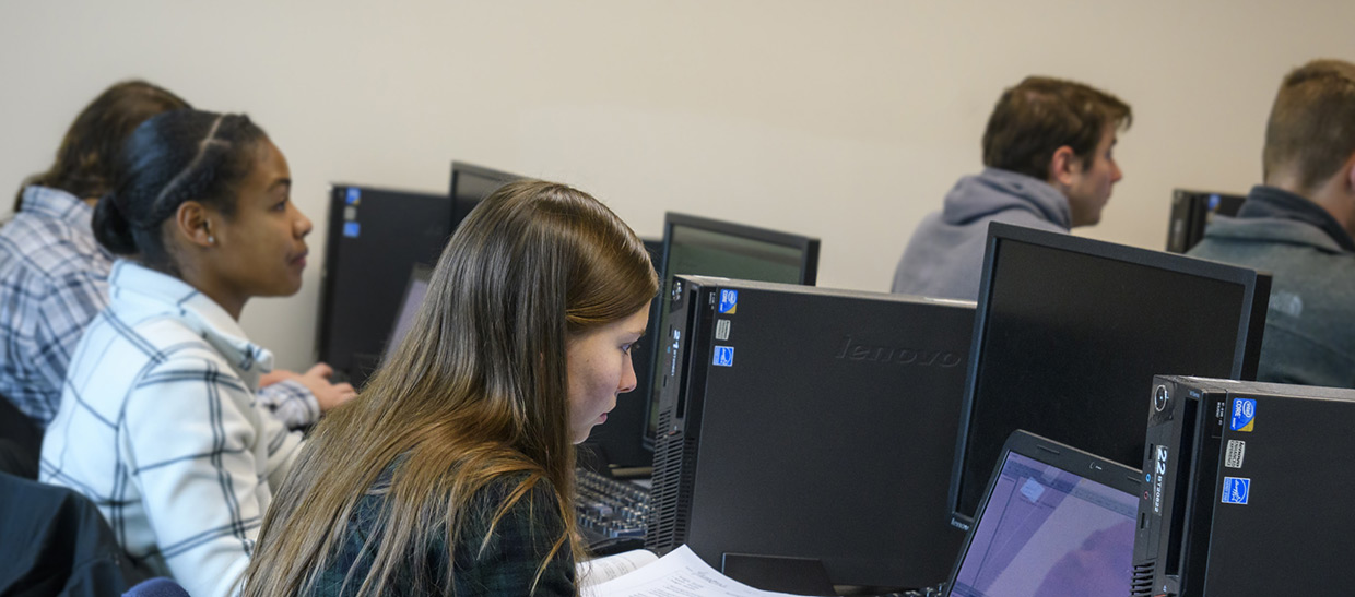 Students working on a computer