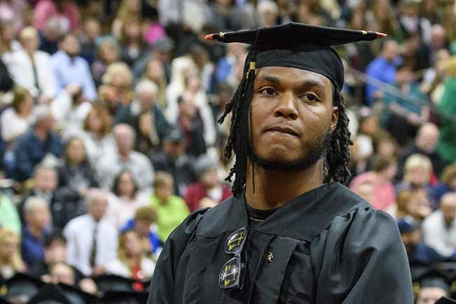 Tyler Sims at commencement