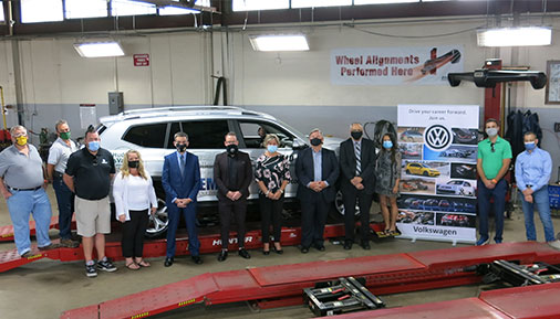 Members from the Hudson Valley Automotive Program accept a Volkswagen Atlas Donation
